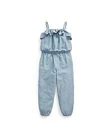 Toddler and Little Girls Chambray Romper