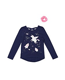 Little Girls Long Sleeve Graphic Tee with Match Back Scrunchie