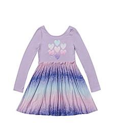 Little Girls Long Sleeve Ruffle Waist Skater Dress