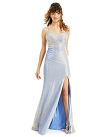 Juniors' Embellished Metallic Gown