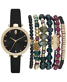 Women's Black Strap Watch 35mm Gift Set
