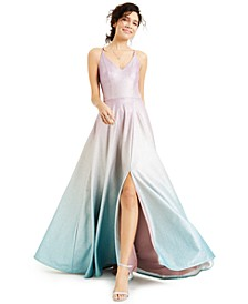 Juniors' Ombré Glitter Gown, Created for Macy's