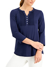 Petite Cotton Crochet-Trim Henley, Created for Macy's