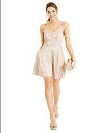 Juniors' V-Neck Glitter Fit & Flare Dress