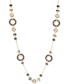 """Stone, Bead & Open Circle Station Necklace, 42"""" + 3"""" extender, Created for Macy's"""