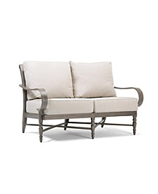 Winston Grayson Wicker Outdoor Loveseat with Outdura Remy Sand Cushion, Created for Macy's