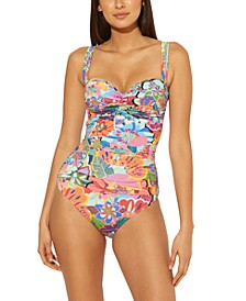 Shirred Underwire Bandeau One-Piece Swimsuit
