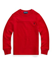 Little Boys Waffle Knit Long Sleeve Polo Shirt