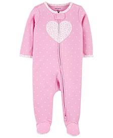 Baby Girls Heart 2-Way Zip Sleep and Play One Piece