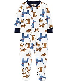 Baby Boys 1-Piece Dog Fleece Footie PJs