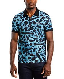 Men's Regular-Fit Stretch Animal-Print Piqué Polo Shirt