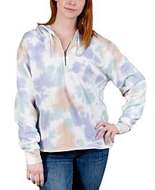 Juniors' Tie-Dye Half-Zip Hoodie Sweatshirt