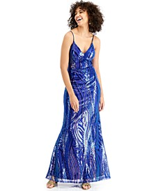 Juniors' Mermaid Sequin Mesh Gown, Created for Macy's