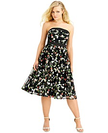 Juniors' Floral Embroidered Midi Dress, Created for Macy's