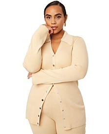 Trendy Plus Size Ribbed Button-Up Sweater, Created for Macy's