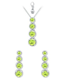 2-Pc. Set Peridot Graduated Pendant Necklace & Matching Stud Earrings Set (4-7/8 ct. t.w.) in Sterling Silver (Also in Rhodolite Garnet, Blue Topaz, Amethyst & Multi-Stone)