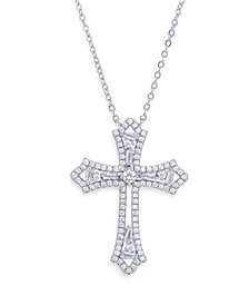 Cubic Zirconia Cross Pendant Necklace in Fine Silver Plated