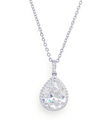 Cubic Zirconia Pear Pendant Necklace in Fine Silver Plated