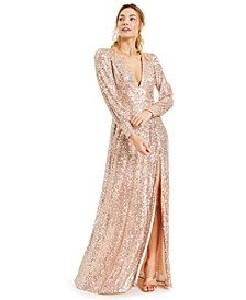 Juniors' Sequined Slit Maxi Gown