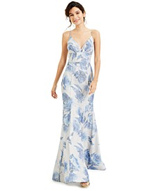 Juniors' V-Neck Glitter Floral-Print Gown, Created for Macy's