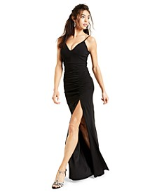 Juniors' Ruched Side-Slit Slim Gown
