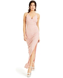 Juniors' Pink-Lace Racerback Gown