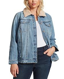 Trendy Plus Size Reagan Faux-Fur-Collar Denim Jacket
