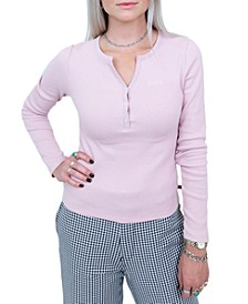 Junior's Ribbed-Knit Henley Top