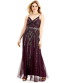Juniors' Beaded Sequin-Embellished Gown