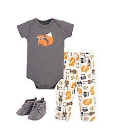 Boys and Girls Cotton Bodysuit, Pant and Shoe Set