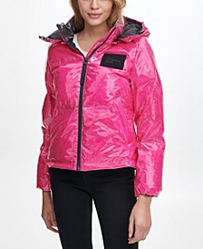 Women's High Shine Hooded Puffer Coat