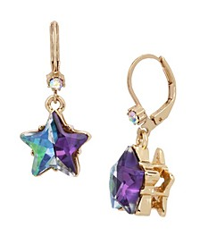Two-Tone Star Drop Earrings