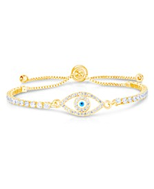 Cubic Zirconia Evil Eye Adjustable Bolo Bracelet In Fine Silver Plate or Gold Plate
