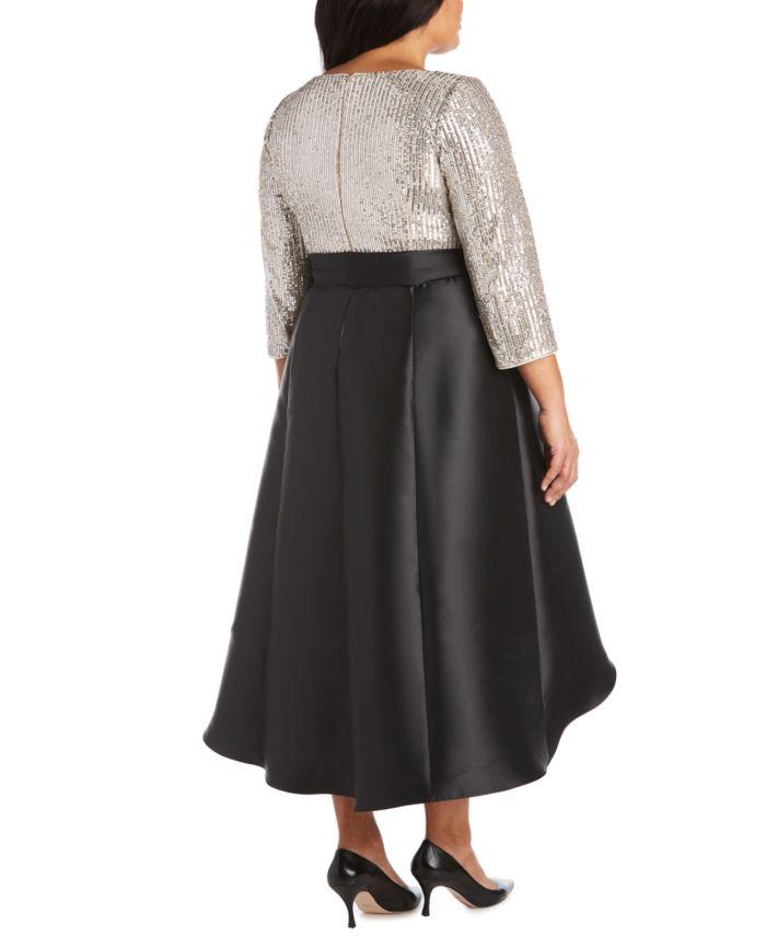 R & M Richards Plus Size Sequin-Top High-Low Dress & Reviews - Dresses - Plus Sizes - Macy's