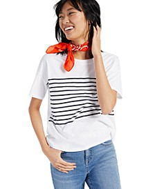 Petite Striped Cotton T-Shirt, Created for Macy's