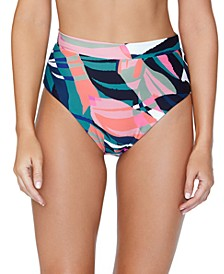 Juniors' Printed High-Waist Bikini Bottoms