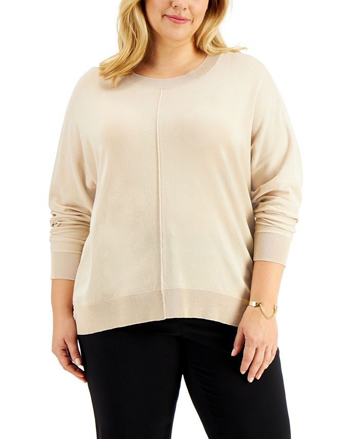 Alfani - Plus Size High-Low Dolman-Sleeve Sweater, Created for Macy's