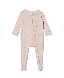 Baby Girl Organic Newborn Zip Through Romper