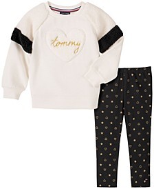 Little Girls 2 Piece Fleece Tunic with Dot Legging Set
