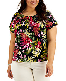 Style & Co Plus Size Printed Pleated-Neck Top, Created for Macy's