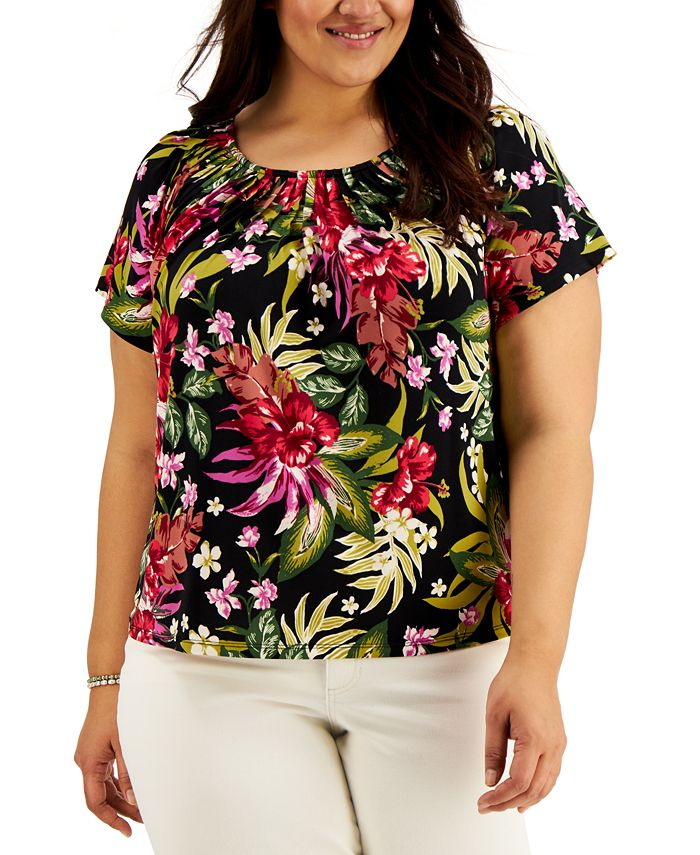 Style & Co - Plus Size Printed Pleated-Neck Top