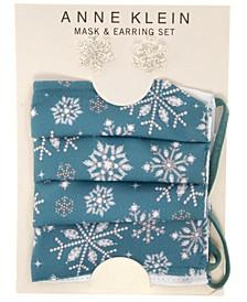 Silver-Tone Snowflake Stud Earrings & Face Mask Set