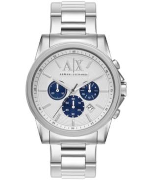 Ax Men's Silver-Tone Stainless Steel Bracelet Watch 45mm