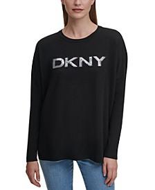 Drop-Shoulder Sequin Logo Sweater