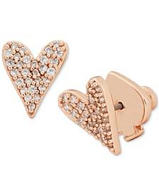 Rose Gold-Tone Pavé Heart Stud Earrings