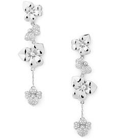 Silver-Plated Pavé Flower Linear Drop Earrings