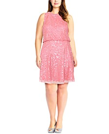 Plus Size Embellished Mock-Neck Dress