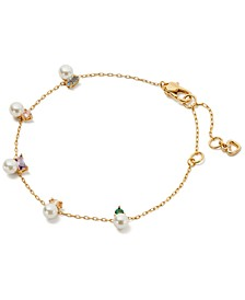 Gold-Tone Imitation Pearl & Colorful Crystal Link Bracelet