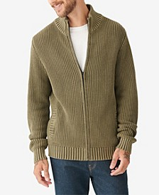 Men's Washed Full Zip Mock Neck Sweater
