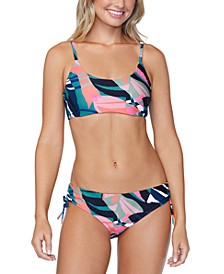 Juniors' Crystal Cove Printed Selah Bikini Top & Luna Bikini Bottoms